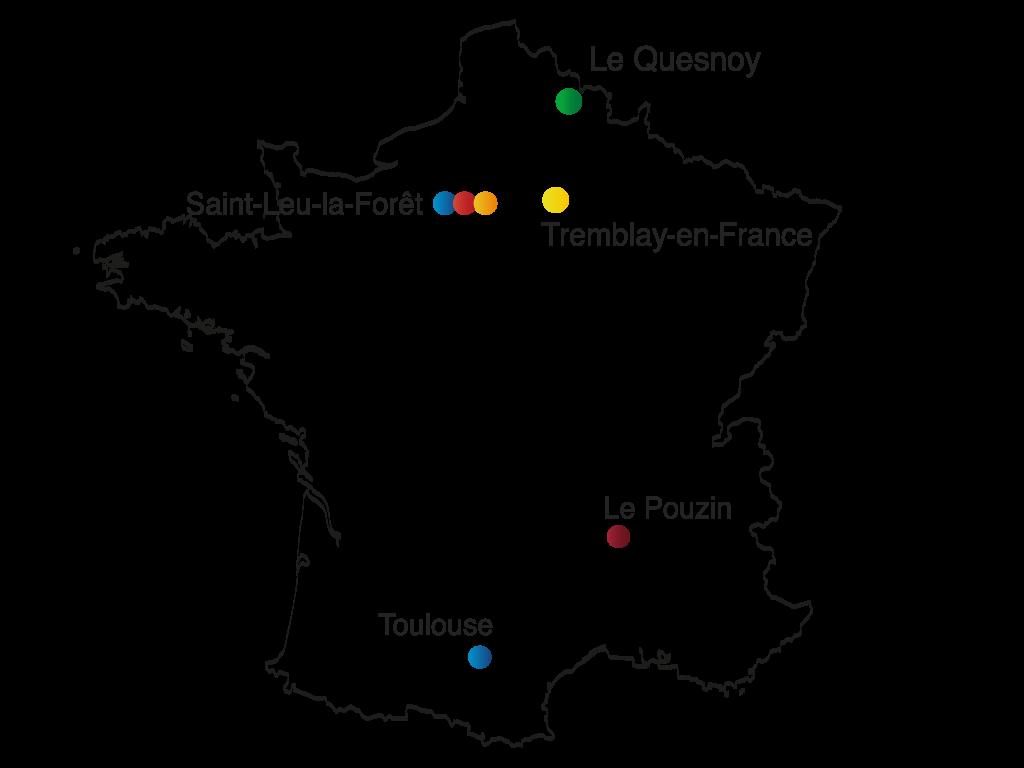 carte de France des différents sites de production Erpro Group